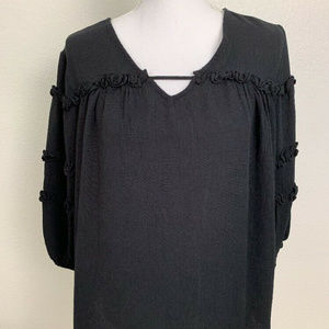 ANA Womens Top Size Small Black 3/4 sleeve ruffles
